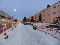 Heerstraßenbaustelle im Schnee